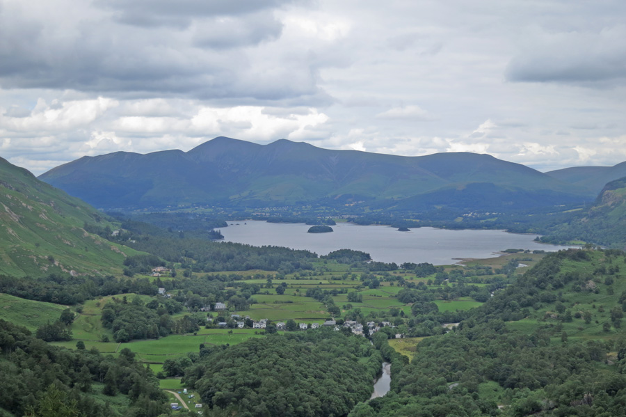 Skiddaw and Derwent Water from Castle Crag's summit