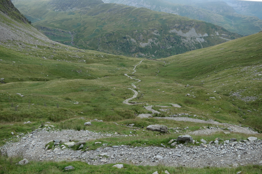Looking back down the Gatescarth Pass track