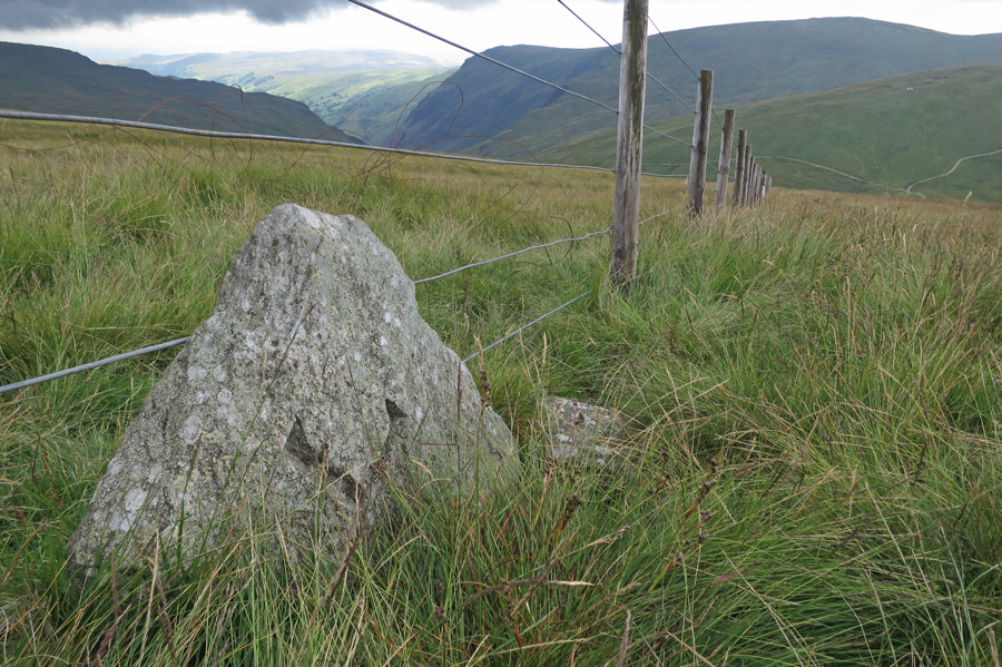 L for Lowther, boundary stone on the way up Branstree