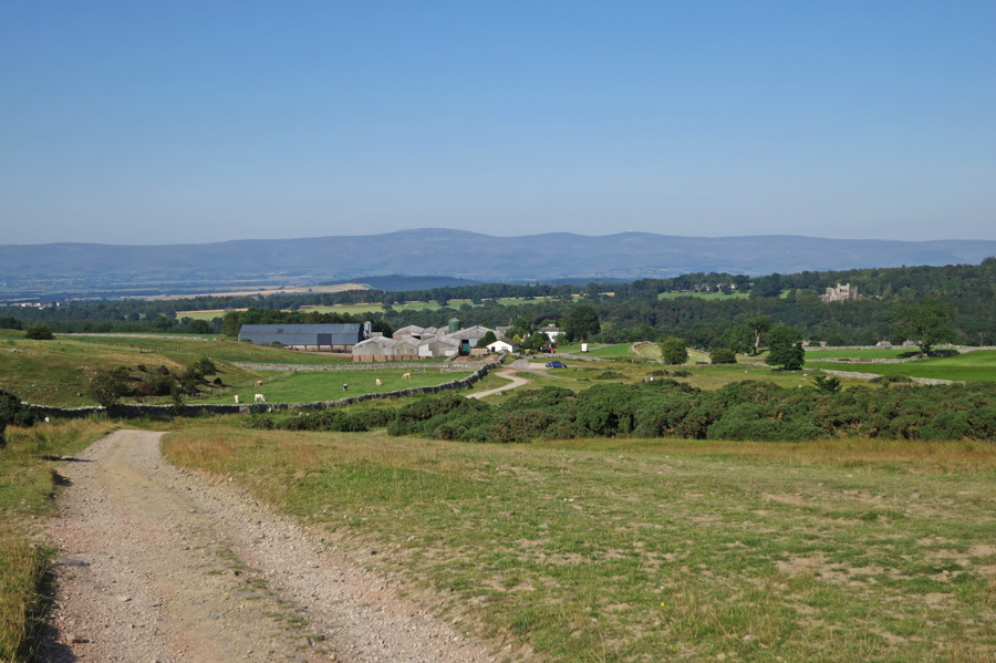 Looking back to Askham with the North Pennines in the distance