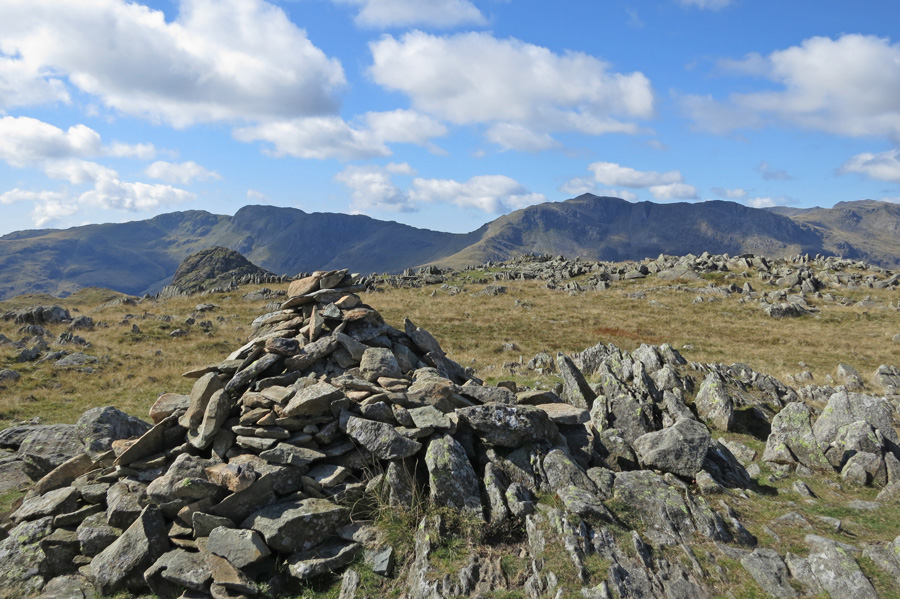 Crinke Crags with Pike O'Stickle in front (left) and Bowfell (right) from Thunacar Knott summit cairn