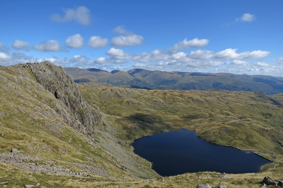 Pavey Ark and Stickle Tarn as we head to Harrison Stickle