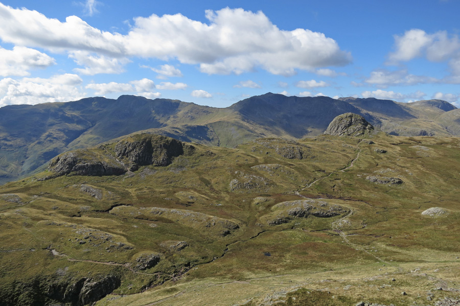 Looking across Harrison Combe to Loft Crag and Pike O'Stickle