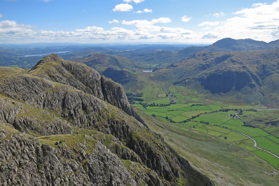 Loft Crag with Gimmer Crag on its side from Pike O'Stickle