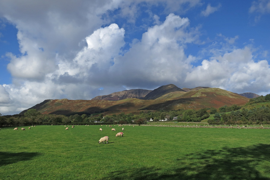 The Grasmoor fells, Buttermere village is in the trees