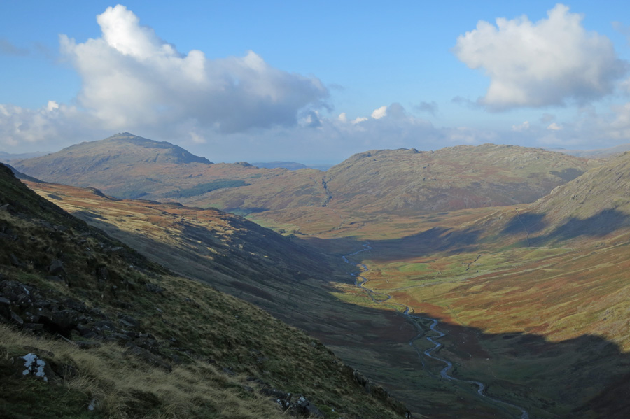Wrynose Bottom with Harter Fell and Hard Knott in the distance