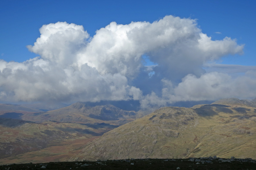 The Scafells are under cloud