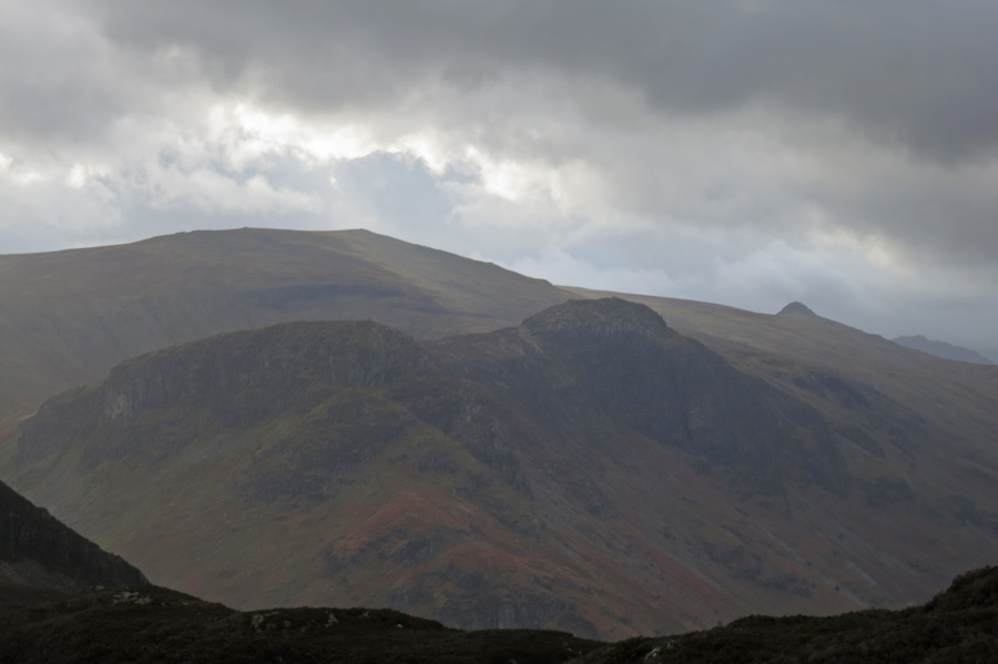 Eagle Crag and Sergeant's Crag with High Raise behind and Pike o'Stickle on the right