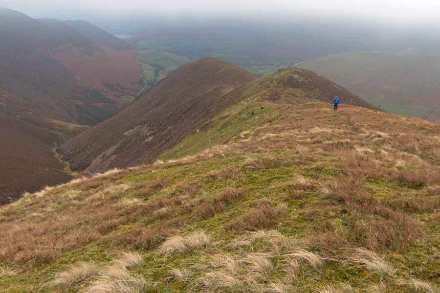 Descending the ridge to Keskadale Farm from Knott Rigg