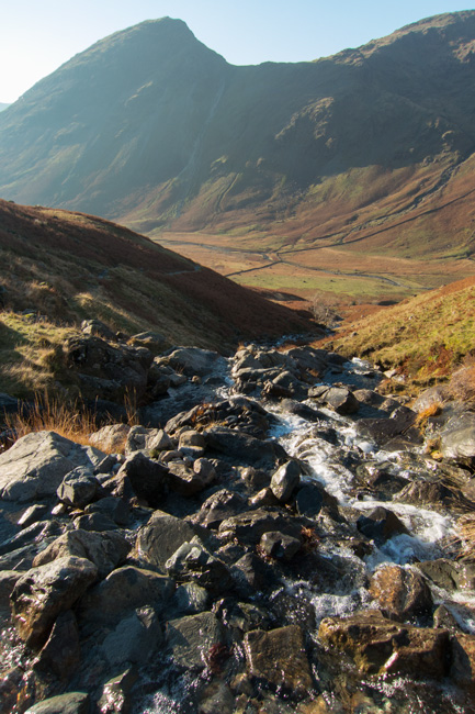 Yewbarrow and Dore Head Screes from my crossing of Gatherstone Beck as I head for Black Sail Pass