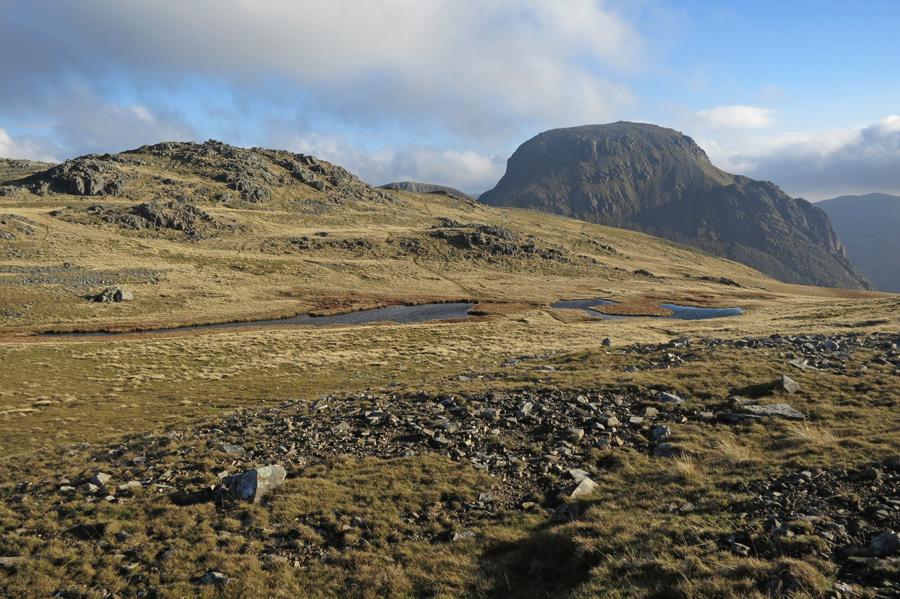 Looking over Kirkfell Tarn to Great Gable