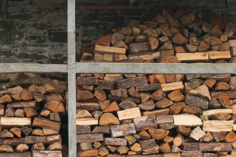 Wood pile at Stang End