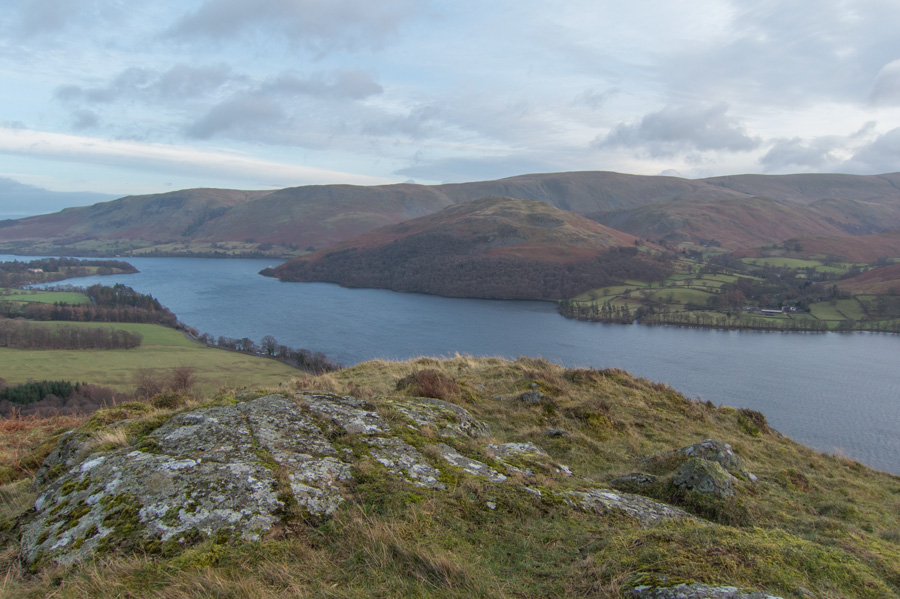 Looking across Ullswater to Hallin Fell with the north end of the High Street ridge behind