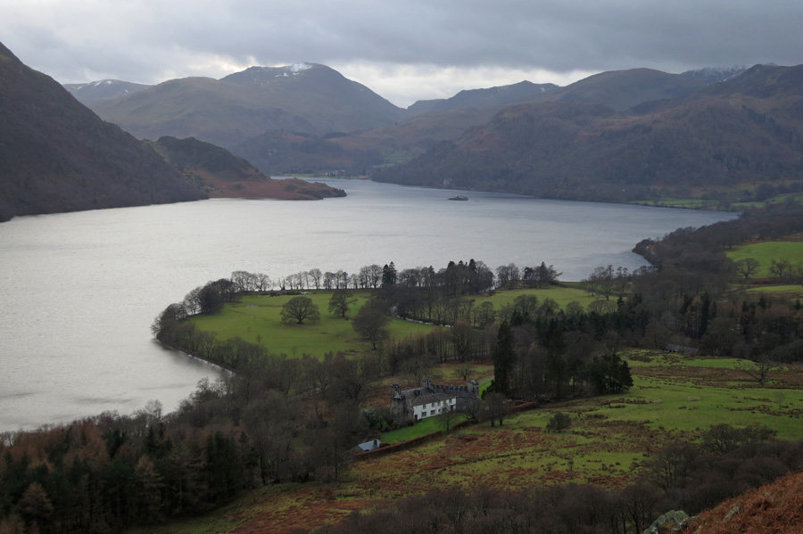Aira Point, Ullswater from above Lyulph's Tower with only a bit of snow left on Saint Sunday Crag in the distance