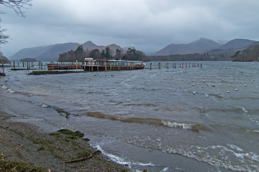Derwent Water from the Keswick landing stages, no sailings today!
