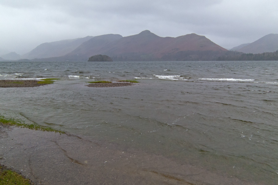 Looking across to Catbells, a high water level at the moment and more rain forecast