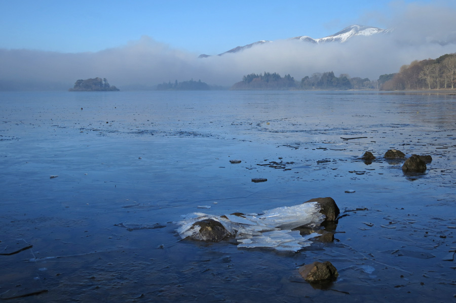 A partly frozen Derwent Water