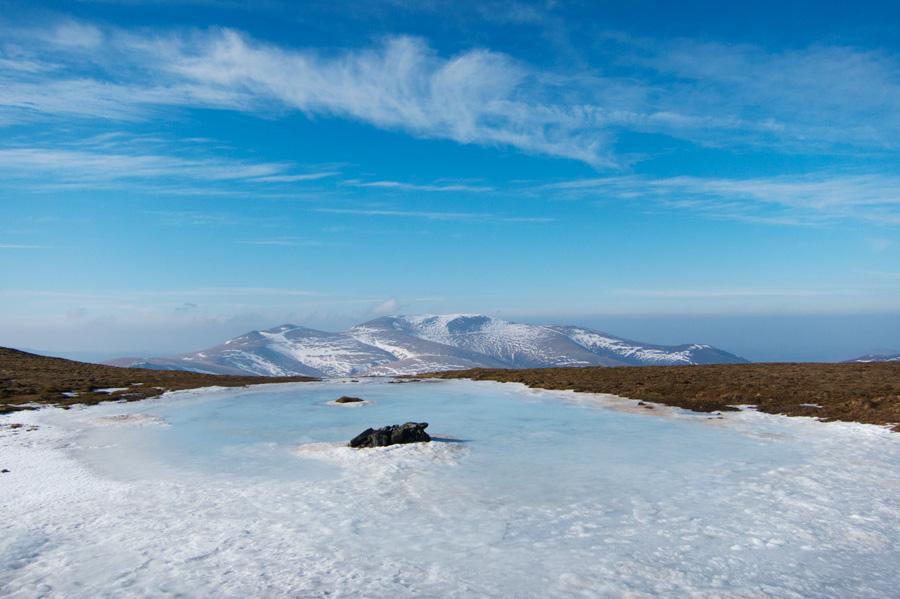 Looking towards the Skiddaw fells from Blencathra's summit tarn