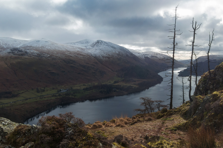 Thirlmere and the Helvellyn fells from Raven Crag's summit