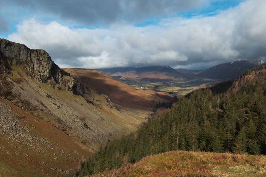 North down Shoulthwaite Gill towards the Skiddaw fells from Castle Crag Fort