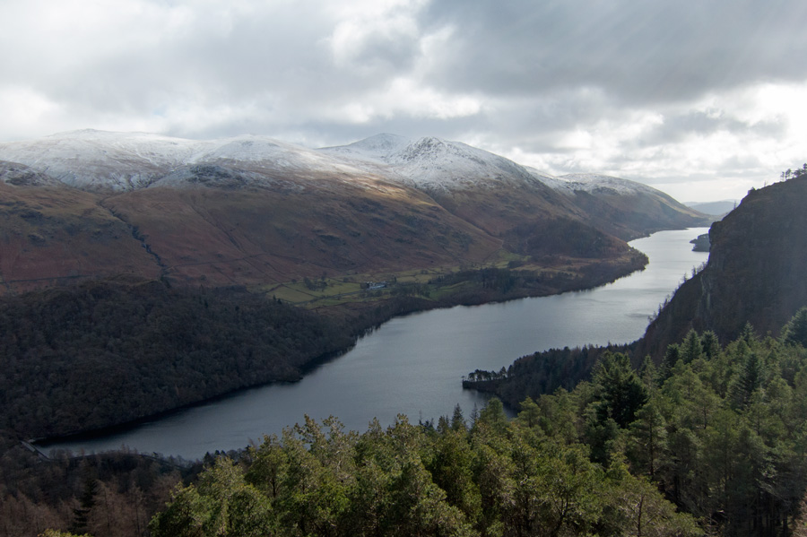Thirlmere and the Helvellyn fells from The Benn's summit