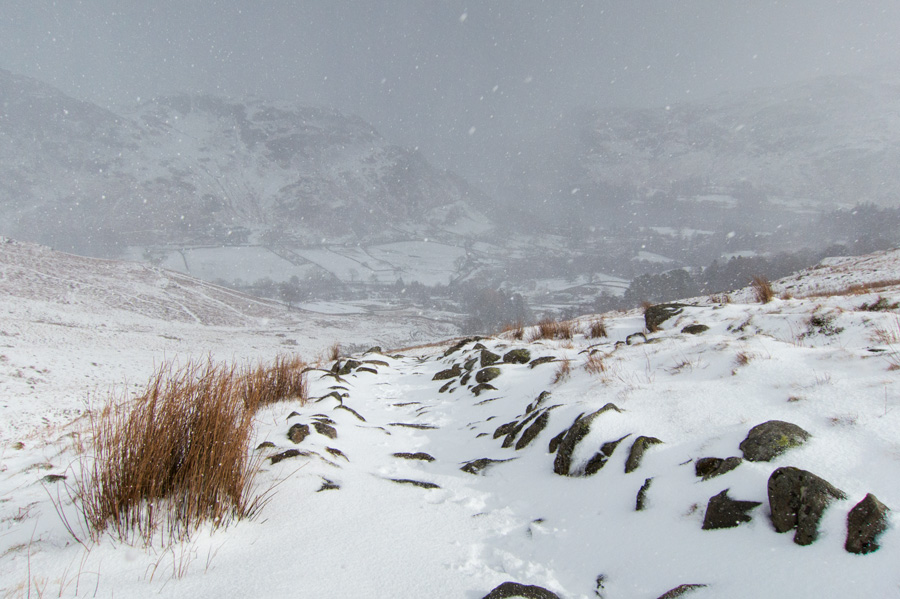 A passing snow shower as I ascend the Mires Beck path