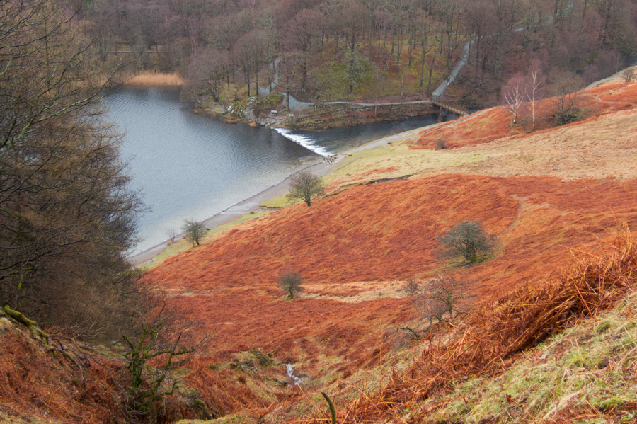 Looking down on Grasmere's weir