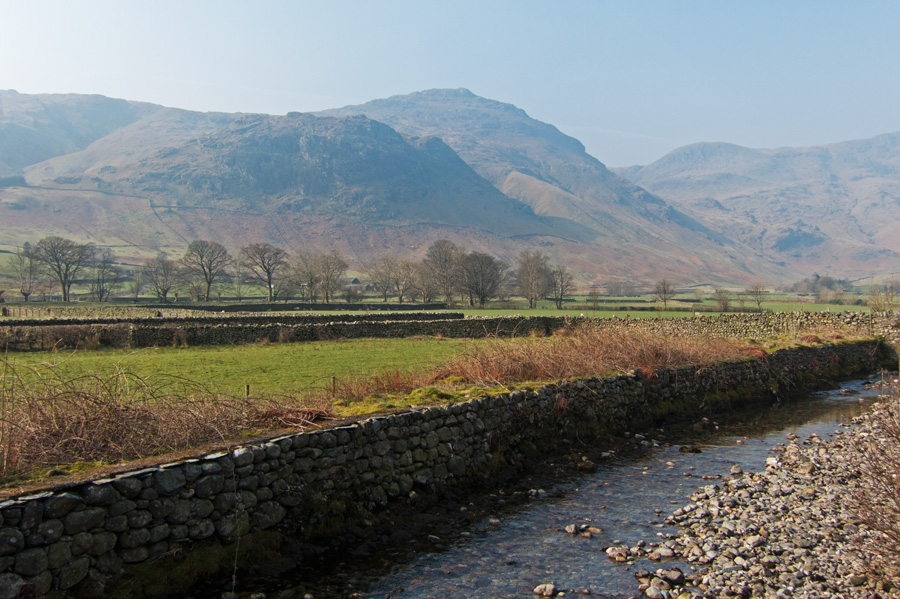 Looking across to Pike O'Blisco from the bridge over Great Langdale Beck near the ODG