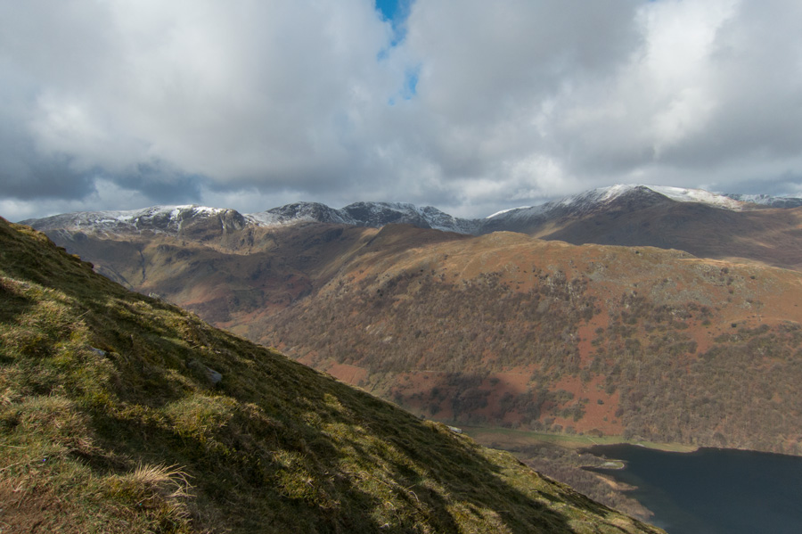 The eastern fells and Brothers Water far below