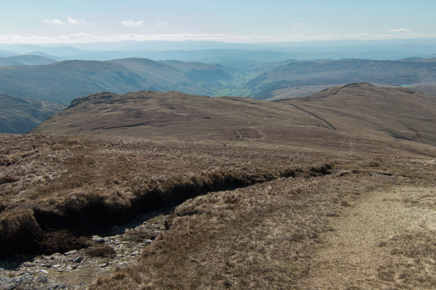Looking down on Goat Scar (left) and Shipman Knotts (right)