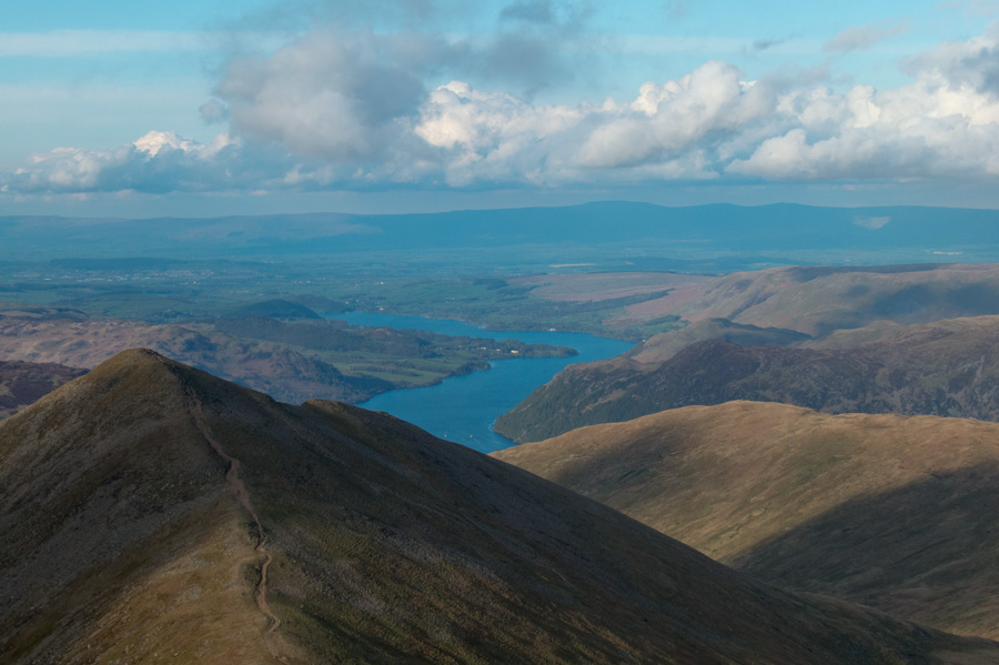 Zooming in on Catstycam's summit with Ullswater beyond and the North Pennines in the distance