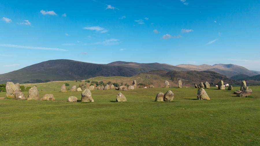 Castlerigg Stone Circle with the Dodds/Helvellyn ridge behind