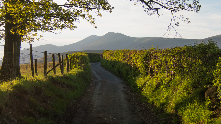 Entering Castle Lane with Skiddaw ahead