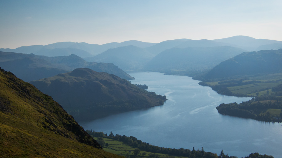 Looking up Ullswater to the high eastern fells