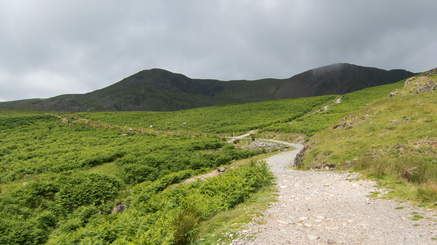 Left for Walna Scar Pass, right for Goat's Water