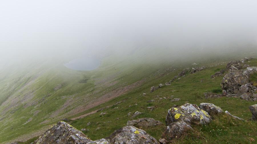 Blind Tarn as I drop below the cloud