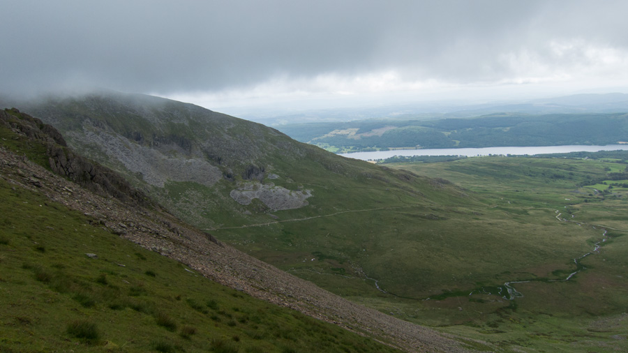Coniston Old Man and Coniston Water as I descend to Blind Tarn