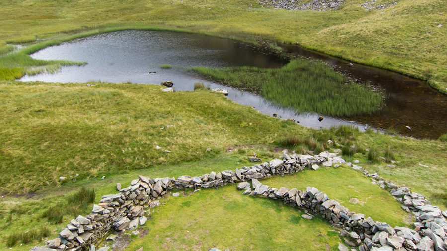 Dalehead Tarn and sheepfold from above