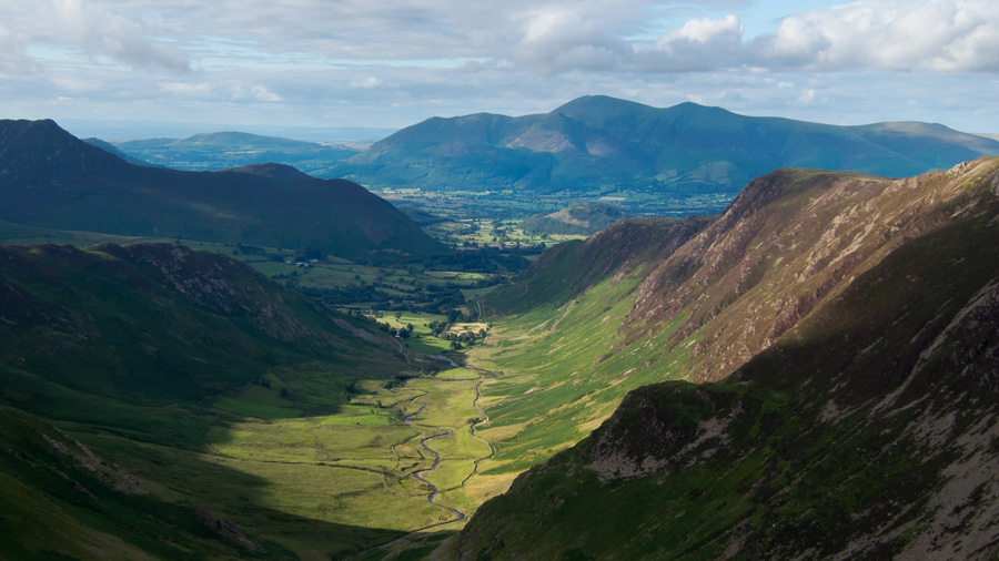 Newlands with the Skiddaw fells in the distance