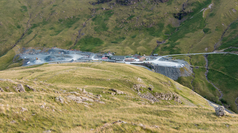 Looking down on Honister Pass