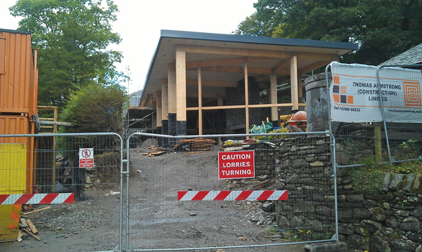 No more Tea Gardens but work is ongoing with the Theatre by the Lake's cafe