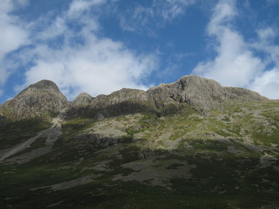 The Langdale Pikes from below