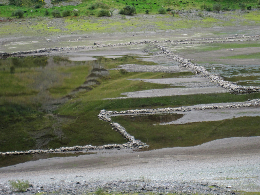 Low water levels reveal the old walls