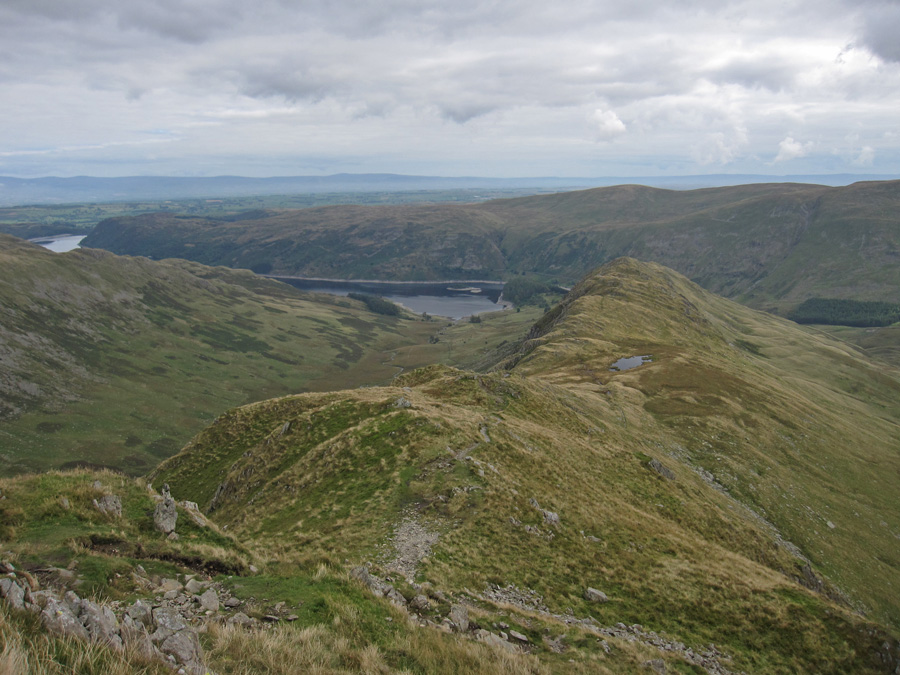 Looking back down Long Stile to Rough Crag and Caspel Gate Tarn