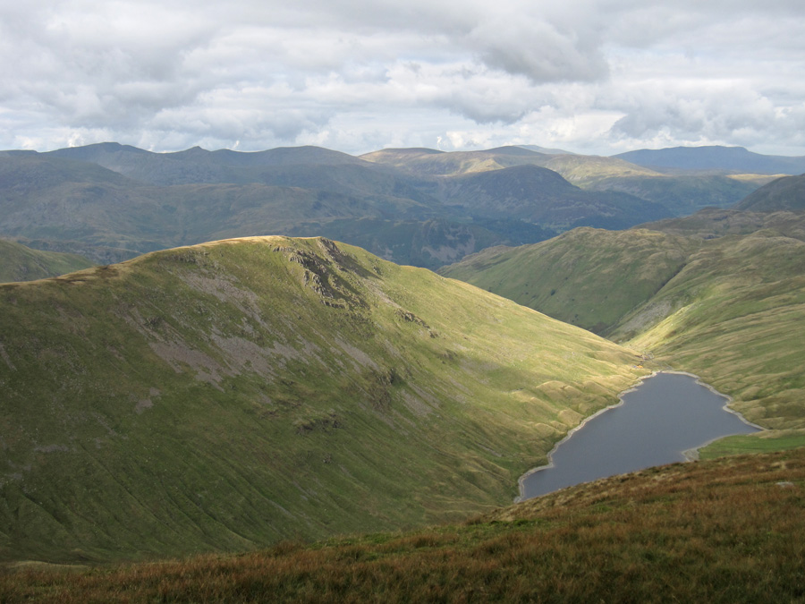Sun on Gray Crag and Hayeswater far below