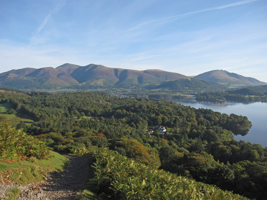 Looking north to the Skiddaw fells with Blencathra over to the right