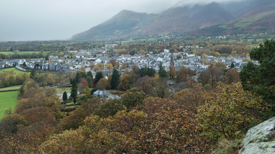 Keswick but the Skiddaw fells are in the cloud