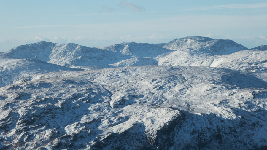 Zooming in on Bowfell, Esk Pike and Scafell Pike