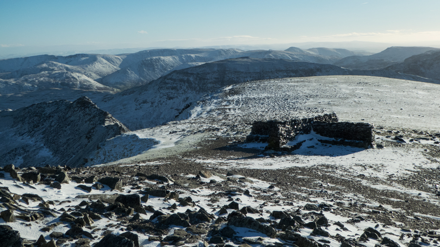 Helvellyn's summit cross shelter