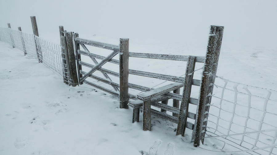 The gate before the final pull up onto Skiddaw's summit ridge